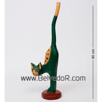 28-040 статуэтка кот зелёный 42 см