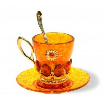 """Набор для кофе """"солнышко"""" из янтаря"""