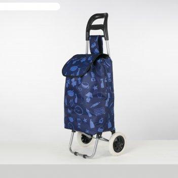 Сумка хоз на колесах yx -6300, 36*23*94, отдел на шнуре, синий