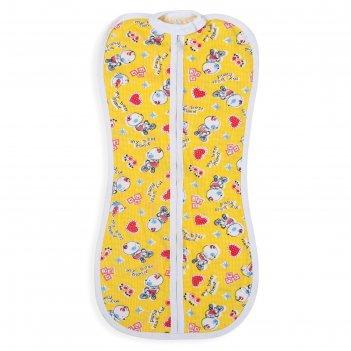 Пеленка-кокон на молнии, рост 50-68 см, цвет жёлтый, принт микс 1129_м