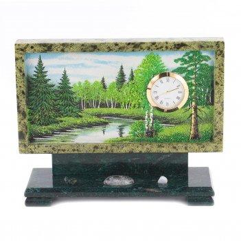 Часы с рисунком лето змеевик 220х70х170 мм 2000 гр.