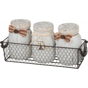 Набор банок для сыпучих продуктов из 3-х шт.париж в металлической корзинке