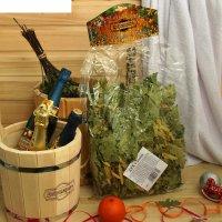 Веник для бани экстра из кавказского дуба с липой добропаровъ, новогодняя