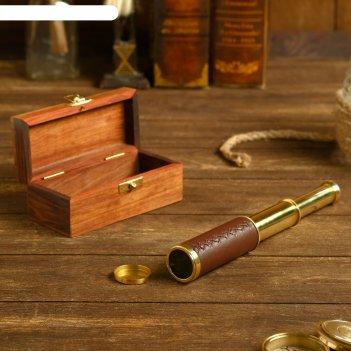 Подзорная труба с 4-х кратным увеличением, в деревянной шкатулке, сувенирн