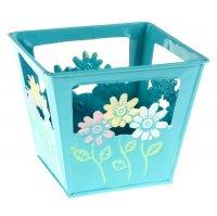 Кашпо оцинкованное цветочки 12*10*12 см, голубое