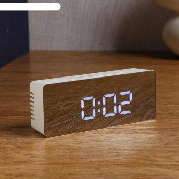 Часы электронные кержан с термометром, настольные, белые цифры, 15х7 см 29