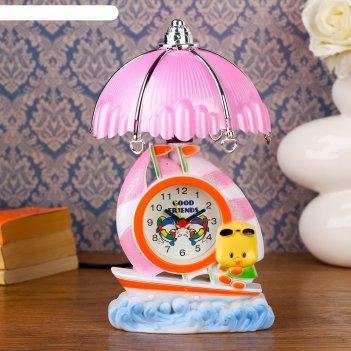 Часы-светильник утенок на лодочке, настольные, 23х14 см, микс