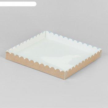 Коробочка для печенья, крафт 25 х 25 х 3 см