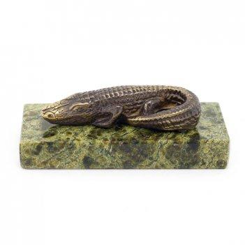 Статуэтка крокодил малый бронза змеевик