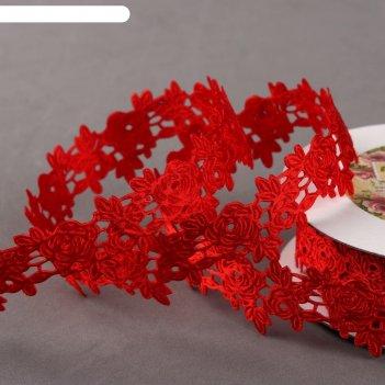 Лента фигурная «розы», 22 мм, 9 м, цвет красный