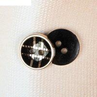 Пуговица декоративная на 4 прокола с золотой каёмкой, 12 мм, цвет чёрный