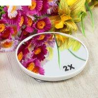 Зеркало для макияжа, с увеличением x2, круглое, d=10см, на присосках