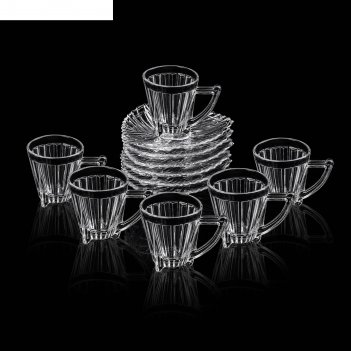 Сервиз чайный мулан, 12 предметов: 6 чашек 120 мл, 10,2х7,2х8,1 см, 6 блюд