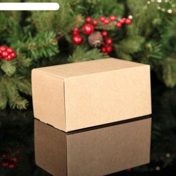 Коробка под 2 капкейка крафт, 16 х 10 х 8 см