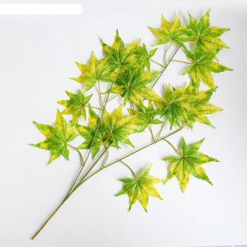 Декор листья на ветке, цвет зелено-желтый