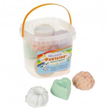 Мелки цветные 10 шт. 7 цветов «фантазия» в форме кекса, пластиковое ведро