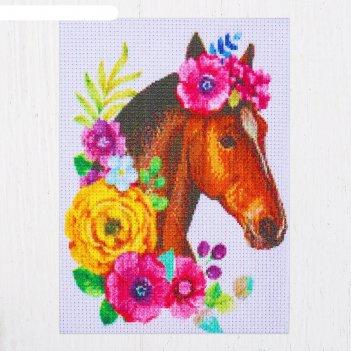Канва для вышивки крестиком лошадь, 20 х 15 см, нитки не входят в комплект