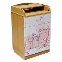 Пеленальный комод мишка с рисунком, 4 выдвижных ящика, цвет бук