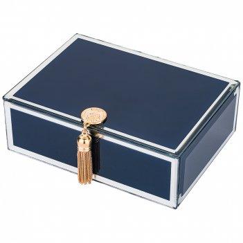 Шкатулка коллекция гламур с кисточкой цвет:синий 16*12*6 см (кор=24шт.)