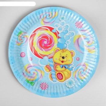 Тарелка бумажная мишка и сладости, d=18 см, набор 6 шт.