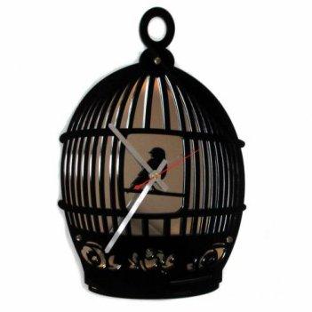 Часы зеркало открытая клетка настенные