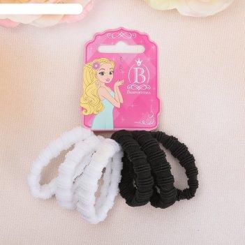 Резинка для волос махрушка простая (набор 6 шт) чёрно-белая
