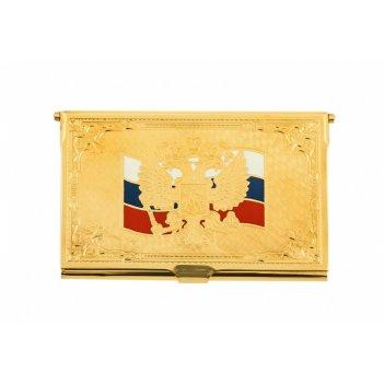 Визитница  флаг россии (элитная) златоуст