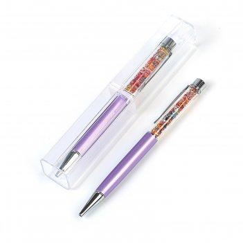 Ручка шариковая подарочная поворотная в пластиковом футляре стразы