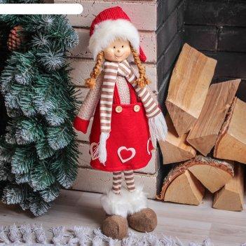 Кукла интерьерная девочка в красной юбочке с сердечками 56 см