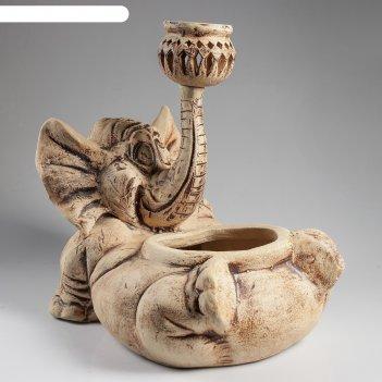Садовый светильник-кашпо слон моня шамот, 15 л