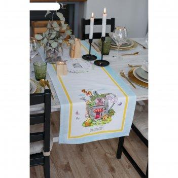 Дорожка на стол уютный дом 40*146 см, 100% хл, саржа 190гр/м2
