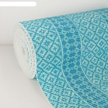 Коврик для ванной комнаты 1,30х15 м квадраты цвет голубой
