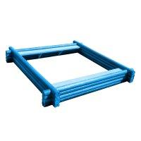 Песочница полимерная, 2 x 2 м, четырёхрядная, из оцилиндровки, синяя