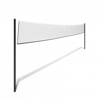 Сетка волейбольная чёрная, с тросом, нить 2 мм, 9,5 х 1 м