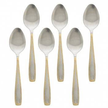 Набор столовых ложек 6 штук золотая фантазия l=20см. (нержавеющая сталь) (