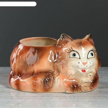 Фигурное кашпо кот коричневое, 2 л