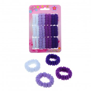 Резинка для волос махрушка (набор 24 шт) фиолет