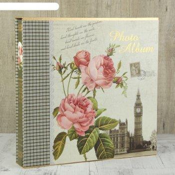 Фотоальбом на 600 фото 10х15 см розы с золотой обводкой в коробке микс 34х