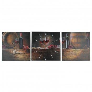 Часы настенные, серия: интерьер, модульные вино, 35х110  см, микс
