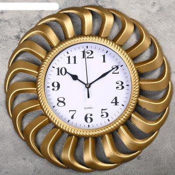 Часы настенные серия жанна, рама вентилятор золото, ретро циферблат d=34см