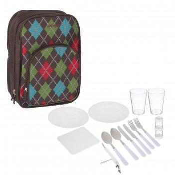 Рюкзак-холодильник с набором посуды для пикника