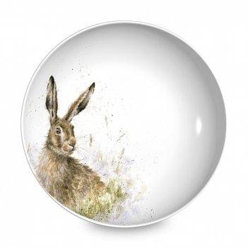 Тарелка для пасты «забавная фауна заяц», диаметр: 22 см, материал: костяно