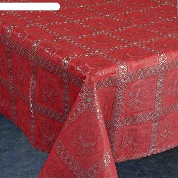 Клеенка столовая ажурная, тв397, 135 см, рулон 15 п.м., красный