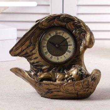 Часы настольные спящий ангел, цвет золото, h=25.5 см