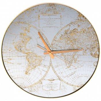 Часы настенные кварцевые карта мира 45*45*5,5 см (кор=6 шт.)