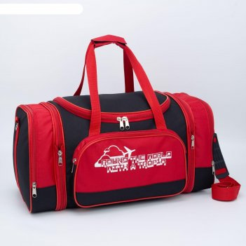 5305 п-600 сумка дорожная трансформер, 55*28*29, чер/крас, 1 отд,2 нар.кар