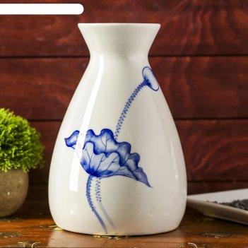 Ваза керамика белая с голубым цветком, малая