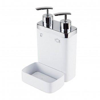 Дозатор для жидкого мыла с секцией для губки viva, цвет белый