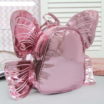 Рюкзак детский, отдел на молнии, с крыльями, цвет розовый