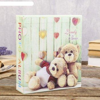 Фотоальбом на 40 фото 13х18 см медвежата блёстки, в коробке микс 20,5х18х5